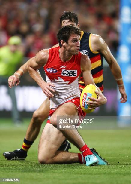 Dean Towers of the Swans controls the ball during the round five AFL match between the Sydney Swans and the Adelaide Crows at Sydney Cricket Ground...
