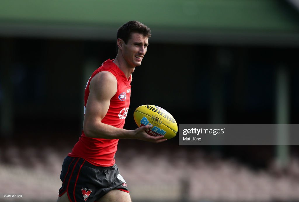 Dean Towers of the Swans looks on during a Sydney Swans AFL training session at Sydney Cricket Ground on September 13, 2017 in Sydney, Australia.
