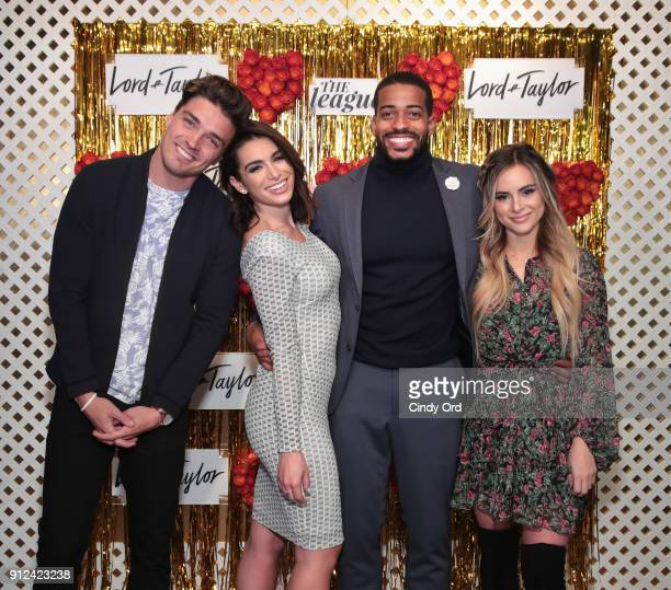 Dean Unglert Ashley Iaconetti Eric Bigger and Amanda Stanton attend Lord Taylor and The League Valentine's Day Speed Dating at The Bar Downstairs at...