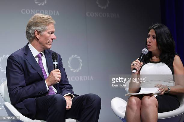 Dean University of Virginia Darden School of Business Scott C Beardsley and Yahoo Finance Anchor Alexis Christoforous speak at the 2016 Concordia...