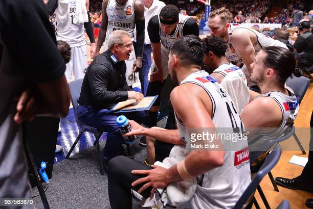 Dean Vickerman coach of Melbourne United during a time out during game four of the NBL Grand Final series between the Adelaide 36ers and Melbourne...