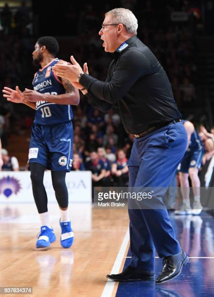 Dean Vickerman coach of Melbourne United during game four of the NBL Grand Final series between the Adelaide 36ers and Melbourne United at Priceline...