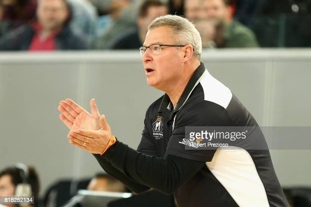 Dean Vickerman coach of Melbourne United gives instructions during the match between Melbourne United and China at Melbourne Park on July 16 2017 in...