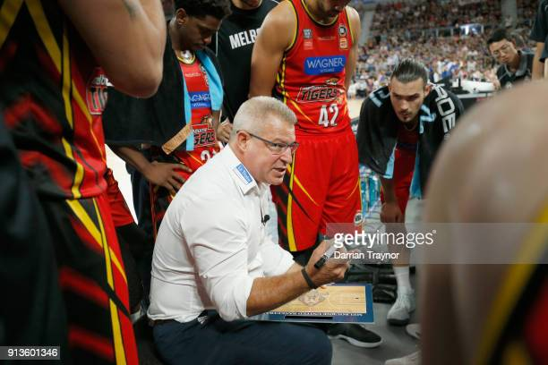 Dean Vickerman coach of Melbourne United speaks to his team in a time out during the round 17 NBL match between Melbourne United and the Brisbane...