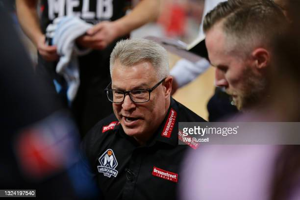 Dean Vickerman, head coach of Melbourne United addresses his players at a time-out during game one of the NBL Grand Final Series between the Perth...