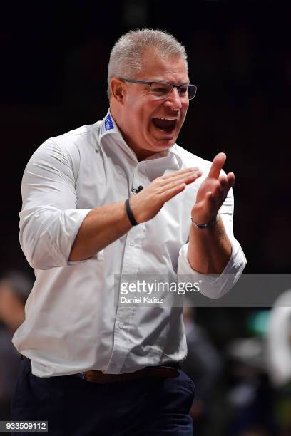 Dean Vickerman head coach of Melbourne United reacts during game two of the NBL Grand Final series between the Adelaide 36ers and Melbourne United at...