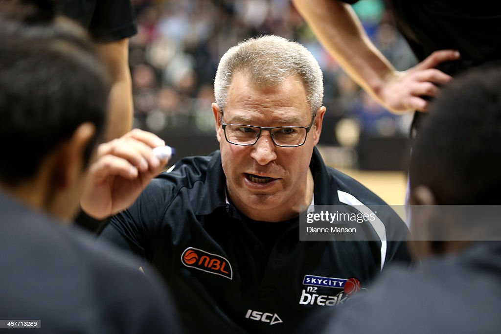 Dean Vickerman, head coach of the New Zealand Breakers, speaks courtside during the NBL pre-season match between the New Zealand Breakers and the Sydney Kings at Stadium Southland on September 11, 2015 in Invercargill, New Zealand.