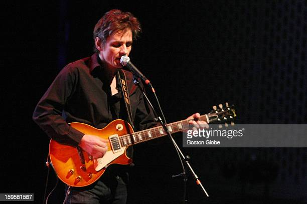 Dean Wareham plays along to projected images of Andy Warhol's Screen Tests Saturday evening at the Institute Of Contemporary Art in Boston on March...