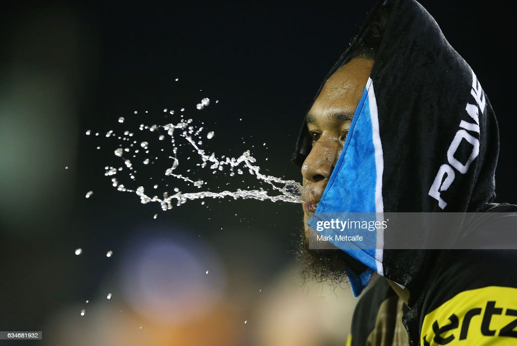 Dean Whare of the Panthers cools down with a wet towel during the NRL Trial match between the Canterbury Bulldogs and the Penrith Panthers at Belmore Sports Ground on February 11, 2017 in Sydney, Australia.