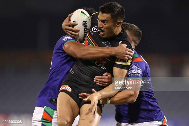 Dean Whare of the Panthers is tackled during the round four NRL match between the Penrith Panthers and the New Zealand Warriors at Campbelltown...
