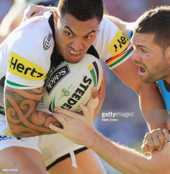 Dean Whare of the Panthers runs with the ball during the round six NRL match between the Penrith Panthers and the Gold Coast Titans on April 15 2018...