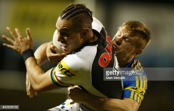 Dean Whare of the Panthers scores a try during the NRL Trial match between the Penrith Panthers and Parramatta Eels at Pepper Stadium on February 18...