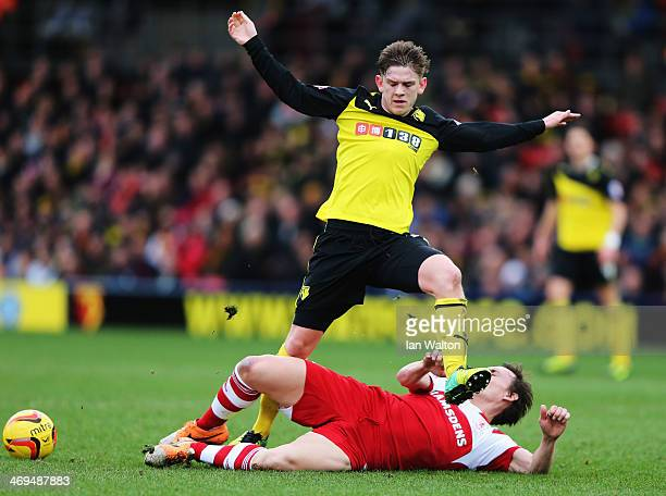 Dean Whitehead of Middlesbrough goes to ground as he tackles Sean Murray of Watford during the Sky Bet Championship match between Watford and...