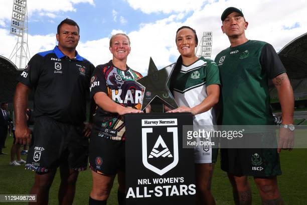 Dean Widders Head coach of Indigenous Women's All Stars Bec Young of Indigenous Women's All Stars Krystal Rota of the New Zealand Maori Ferns and...