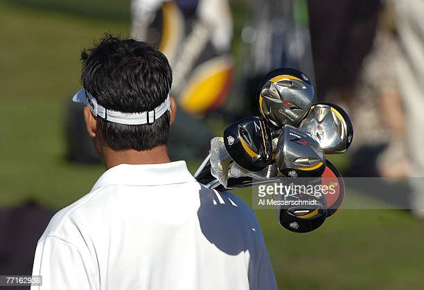 Dean Wilson caries six TaylorMade drivers to the practice range before the 2007 PODS Championship held at the Innisbrook Resort and Golf Club in Palm...