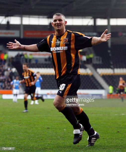 Dean Windass of Hull City celebrates his Second goal during the Coca-Cola Championship match between Hull City and Birmingham City at the KC Stadium...