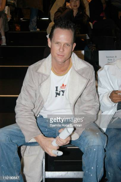Dean Winters during Olympus Fashion Week Fall 2004 Maurice Malone Front Row and Backstage at Studio Noir at Bryant Park in New York City New York...