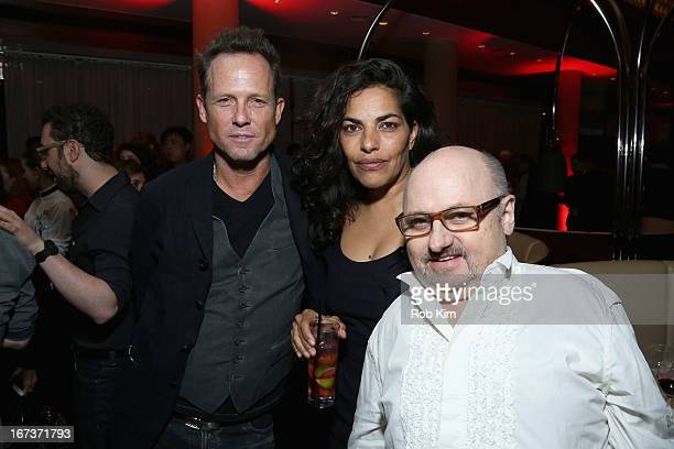 Dean Winters Sarita Choudhury and Clark Middleton attend the TFI Awards during the 2013 Tribeca Film Festival on April 24 2013 in New York City