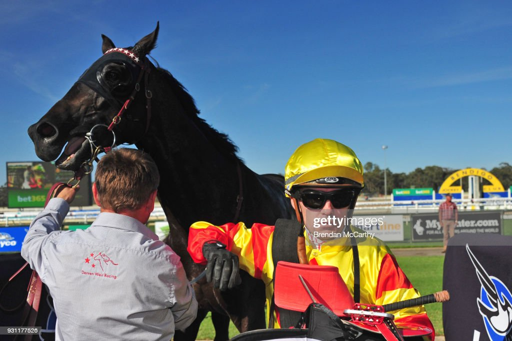 Dean Yendall after winning the Hygain BM78 Handicap at Bendigo Racecourse on March 13, 2018 in Bendigo, Australia.