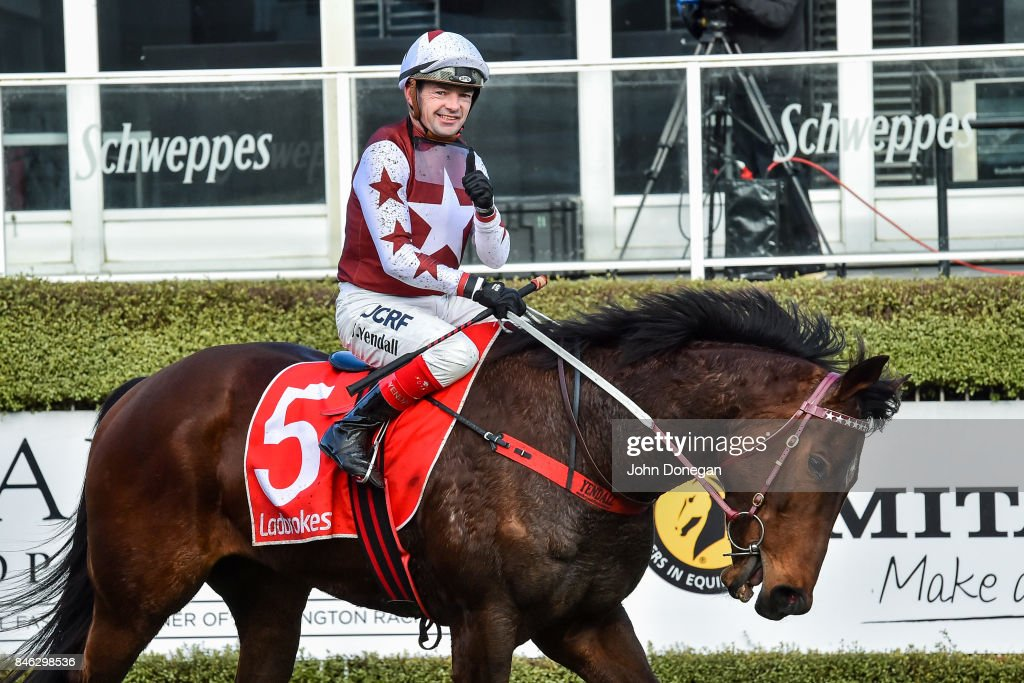 Dean Yendall returns to the mounting yard aboard Labuan Star after winning the Edgell Bad Boys Handicap at Mornington Racecourse on September 13, 2017 in Mornington, Australia.