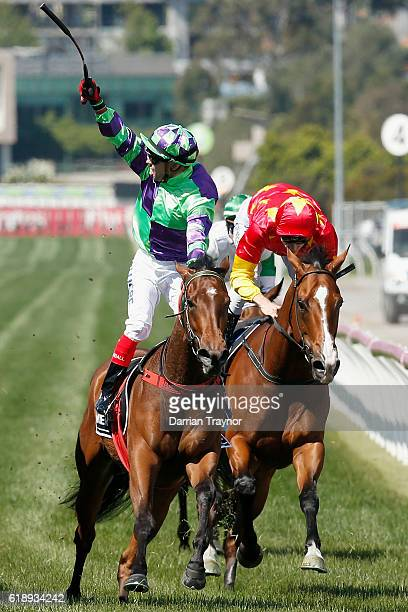 Dean Yendall rides I Am a Star to win race 6 the Myer Classic on Derby Day at Flemington Racecourse on October 29 2016 in Melbourne Australia