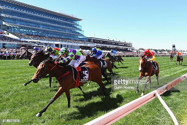 Dean Yendall rides I Am a Star to win race six the Myer Classic on Derby Day at Flemington Racecourse on October 29 2016 in Melbourne Australia