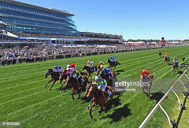 Dean Yendall rides I Am a Star to win race six, the Myer Classic on Derby Day at Flemington Racecourse on October 29, 2016 in Melbourne, Australia.