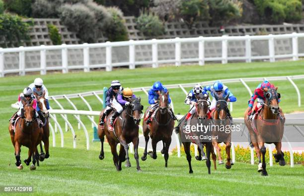 Dean Yendall riding Dandy Gent winning Race 5 during Melbourne Racing at Moonee Valley Racecourse on December 23 2017 in Melbourne Australia