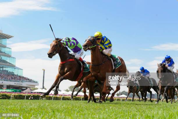 Dean Yendall riding I am a Star defeats Steven Parnham riding Ellicazoom in Race 5 Kewney Stakes during Melbourne Racing at Flemington Racecourse on...