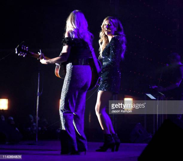 Deana Carter and Carly Pearce perform onstage at ACM Lifting Lives® Decades on April 06 2019 in Las Vegas Nevada