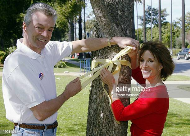 HILLS CA APRIL 6 Deana Martin daughter of Dean Martin and her husband John Griffeth attend Yellow Ribbon Sunday at Will Rogers Memorial Park April 6...
