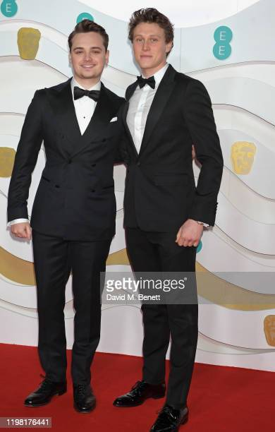 DeanCharles Chapman and George MacKay arrive at the EE British Academy Film Awards 2020 at Royal Albert Hall on February 2 2020 in London England