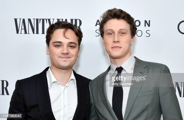 Dean-Charles Chapman and George MacKay attend The Vanity Fair x Amazon Studios 2020 Awards Season Celebration at San Vicente Bungalows on January 04,...