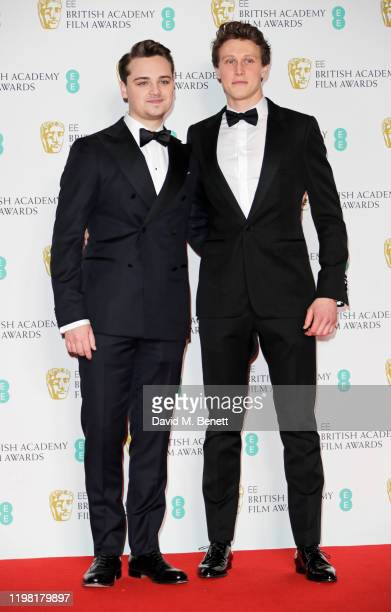 DeanCharles Chapman and George MacKay pose in the Winners Room at the EE British Academy Film Awards 2020 at Royal Albert Hall on February 2 2020 in...