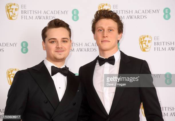 DeanCharles Chapman and George MacKay pose in the Winners Room during the EE British Academy Film Awards 2020 at Royal Albert Hall on February 02...