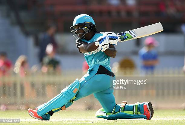 Deandra Dottin of the Heat bats during the Women's Big Bash League match between the Sydney Sixers and the Brisbane Heat at North Sydney Oval on...