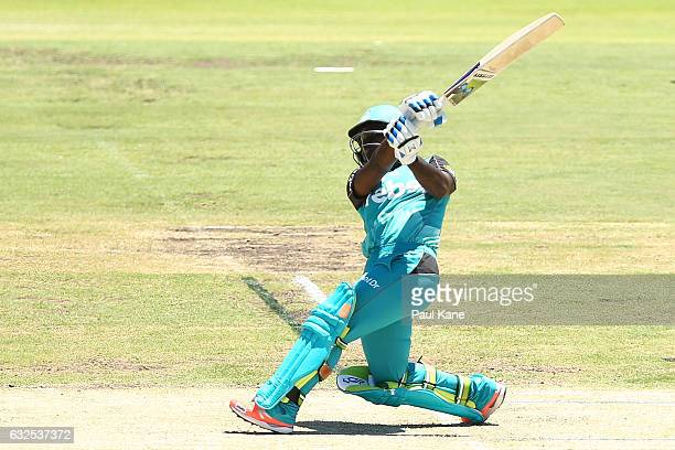 Deandra Dottin of the Heat bats during the Women's Big Bash League match between the Perth Scorchers and the Brisbane Heat at the WACA on January 24...