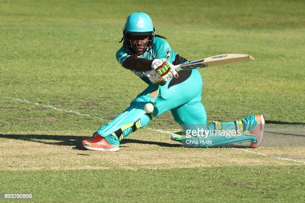Deandra Dottin of the Heat bats during the Women's Big Bash League match between the Brisbane Heat and the Perth Scorchers at Allan Border Field on...