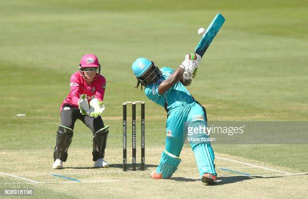 Deandra Dottin of the Heat bats during the Women's Big Bash League match between the Brisbane Heat and the Sydney Sixers at Hurstville Oval on...