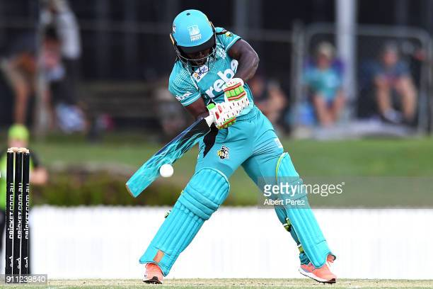 Deandra Dottin of the Heat bats during the Women's Big Bash League match between the Sydney Thunder and the Brisbane Heat at Allan Border Field on...