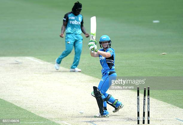 Deandra Dottin of the Heat celebrates taking the wicket of Sarah Coyte of the Strikers during the Women's Big Bash League match between the Adelaide...