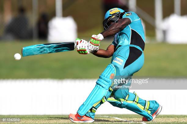 Deandra Dottin of the Heat during the Women's Big Bash League match between the Sydney Thunder and the Brisbane Heat at Allan Border Field on January...