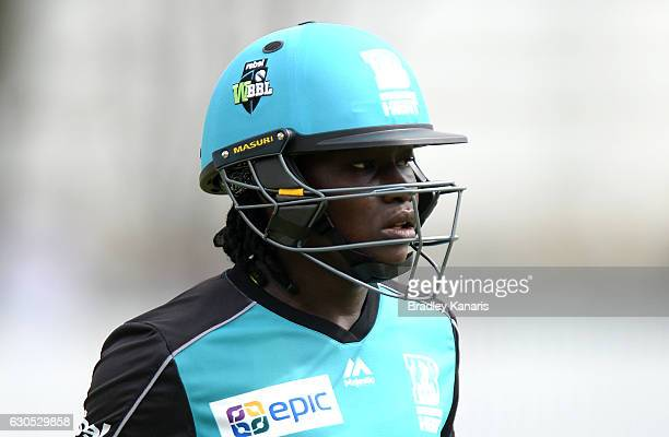 Deandra Dottin of the Heat looks dejected after losing her wicket during the WBBL match between Melbourne Stars and Brisbane Heat at Allan Border...