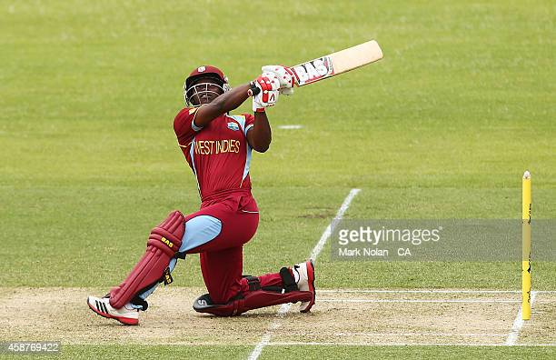 Deandra Dottin of the West Indies bats during game one of the women's One Day International series between Australia and the West Indies at...