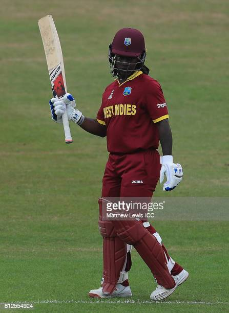 Deandra Dottin of the West Indies celebrates her half century during the ICC Women's World Cup 2017 match between West Indies and Pakistan at Grace...