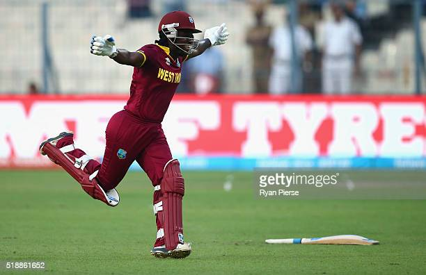 Deandra Dottin of the West Indies celebrates victory during the Women's ICC World Twenty20 India 2016 Final match between Australia and West Indies...
