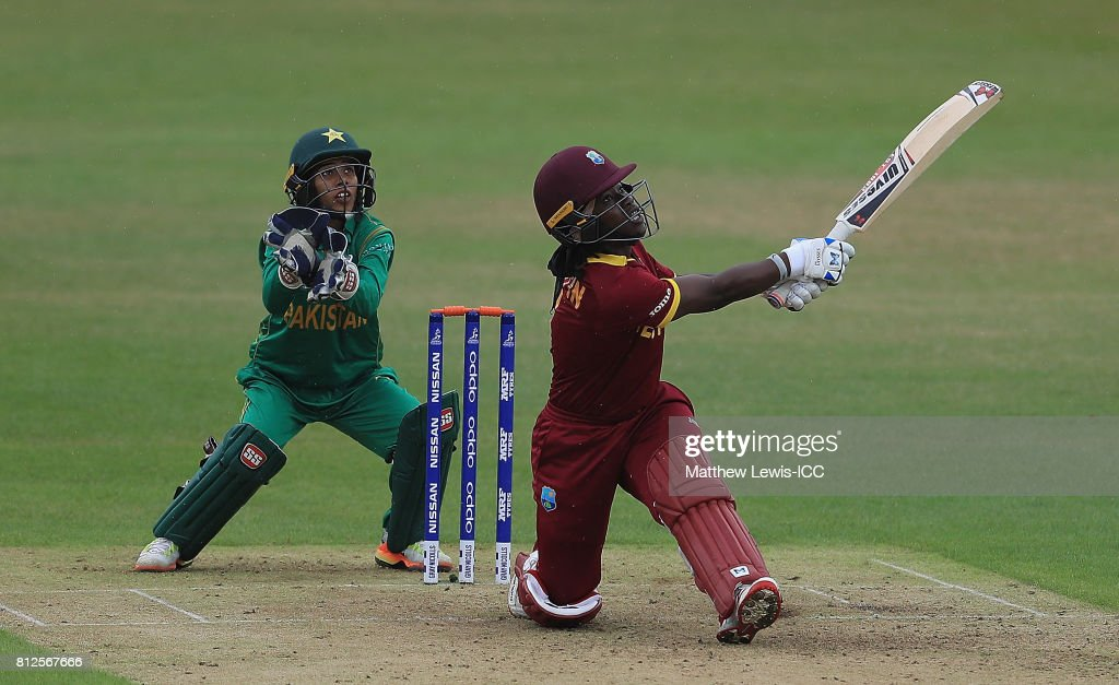 Deandra Dottin of the West Indies hits a six during the ICC Women's World Cup 2017 match between West Indies and Pakistan at Grace Road on July 11, 2017 in Leicester, England.