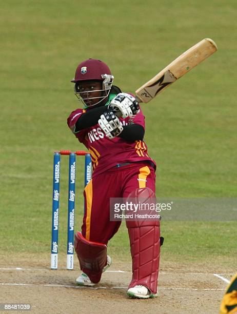 Deandra Dottin of the West Indies hits out during the ICC Women's Twenty20 World Cup match between West Indies and Australia at The County Ground on...
