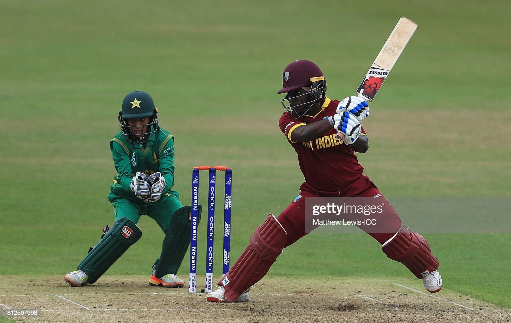 Deandra Dottin of the West Indies hits the ball towards the boundary during the ICC Women's World Cup 2017 match between West Indies and Pakistan at Grace Road on July 11, 2017 in Leicester, England.
