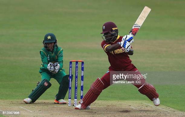 Deandra Dottin of the West Indies hits the ball towards the boundary during the ICC Women's World Cup 2017 match between West Indies and Pakistan at...